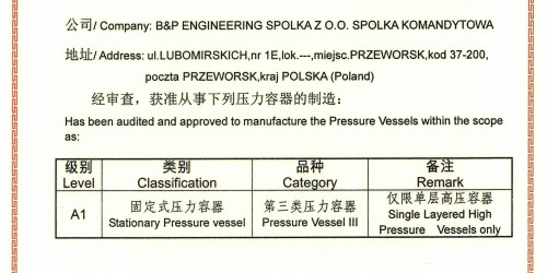 Certificate for production of pressure vessels and distribution to the People's Republic of China